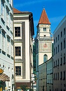 Germany, Passau, Danube, Inn, Ilz, Bavarian Forest, Lower Bavaria, Bavaria, old town, residential buildings, old city hall, city hall tower, bell towe...