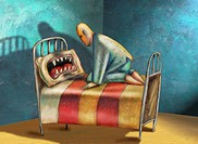 Man climbing into bed, facing an angry pillow