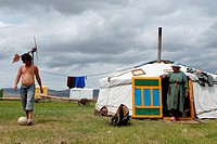 Mongolia, Hentii district, homeland of Genghis Khan, nomadic family installed around Binder