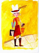 Cowgirl with Shopping Bags