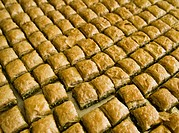 Sweet Tasty Baklawa dessert sold in a shop in the old city of Jerusalem