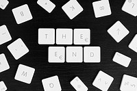 Computer keys spelling the words THE END