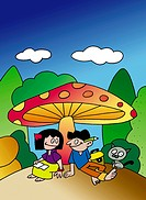 Boy And Girl Under Mushroom Umbrella