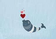 A fish blowing love heart bubbles