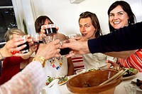 People at a dinner party, Sweden.