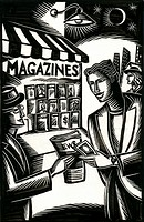 buying newspaper at newsstand