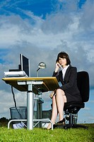 Businesswoman using telephone at desk in field