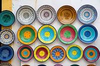 Souvenir plates Medina old town Essaouira central Morocco northern Africa