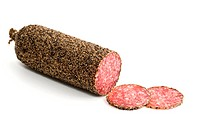peppered salami sausage and slices