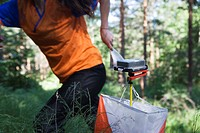 A woman practising orienteering, Sweden.