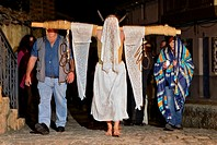 ´Empalaos´ impaleds, Holy Week in Valverde de la Vera  Empalao and family Caceres province, Extremadura, Spain