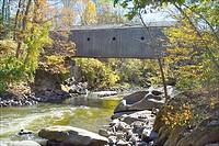 Bulls Bridge, a covered historic bridge near Kent (Connecticut, USA) over the Housatonic River.