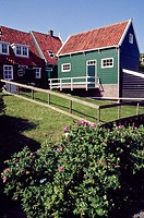 Traditional wooden house in Marken, province of Noord Holland, the Netherlands