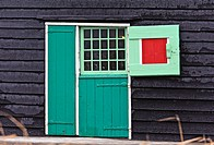 Brightly painted door of an historic Dutch house, the Zaanse Schans, Zaanstad, the Netherlands