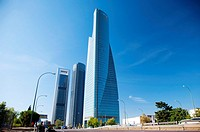 building skyscrapers at madrid city in spain