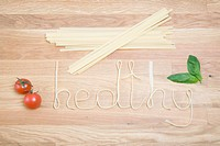 Pasta spelling out the word healthy