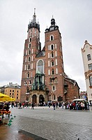 St  Mary's Basilica Polish: Kosciól Mariacki, is a Brick Gothic church, Krakow, Poland, East Europe