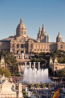 Montjuic National Palace and fountains, Barcelona, Catalonia, Spain