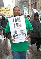 Detroit, Michigan - Unions rally in downtown Detroit to support public employees and to oppose state budget cuts  It was one of many ´We Are One´ acti...