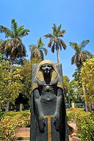 duplicate Statue of ancient Egyptian, garden in Cairo, Egypt