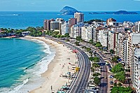 Aerial view of crowded white sand beach, Copacabana Beach, Rio de Janeiro, Brazil
