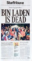 Osama bin Laden is Dead celebrating cheering at White House front page headline on StarTribune newspaper Minneapolis Minnesota MN USA