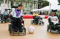 Paris, FRANCE - French Handicapped Athletes Playing Soccer at ´Rencontres EDF Handisport´ Men in Wheelchairs