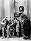 WIZARD OF OZ, 1939.Jack Haley as the Tin Woodman, Bert Lahr as the Cowardly Lion, Judy Garland as Dorothy, Ray Bolger as the Scarecrow, and Frank Morg...
