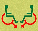 Disability sexuality. Conceptual artwork of wheelchair disabled symbols combined with the male left and female right symbols, representing sexual attr...