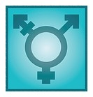 Transgender symbol, artwork. This symbol consists of a circle with a male arrow at upper right, a female cross at bottom, and a crossed or striked arr...