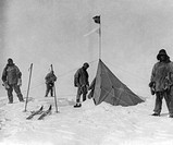 Scott´s Antarctic expedition. Historical image of the team of the Terra Nova Expedition standing by a Norwegian tent at the South Pole. The Terra Nova...