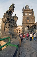 Sculpture group of Charles Bridge and Powder Tower, Prague, Czech Republic, Central Europe