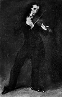 NICOLO PAGANINI (1782-1840).Italian violinist and composer. Oil on canvas by Eugene Delacroix.