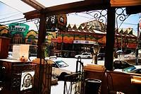 Cafeteria, street, gate, cars, Bolivia