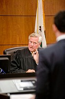 A real judge responds to a student's argument at the law school of the University of California at Irvine moot court -- a prestigious extracurricular ...