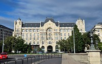 Front of old attractive building near bank of Danube river, Budapest, Hungary, Central Europe