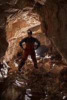 an athletic female caver, fernie, british columbia, canada