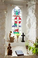 Stained Glass Window Of St. Gobban´S Church, Portbraddon, County Antrim, Northern Ireland