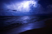 Lightning over Ocean at night