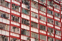 Densely occupied older apartment block in Hong Kong