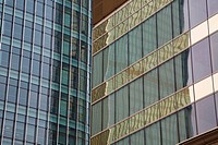 Converging reflections in mirrored skyscrapers