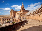 Ornate building in Plaza de Espana, Seville, Spain