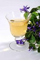 Glass, of, Sweet, Violet, wine, Viola, odorata,