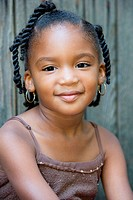 Portrait of young girl with braided hair