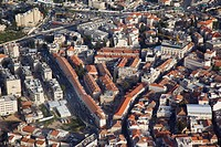 Aerial photograph of the orthodox jewish neighborhood of Meah Shearim in Jerusalem