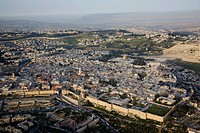 Aerial photograph of the Jaffa gate and David´s Citadel in the old city of Jerusalem