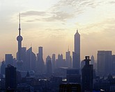 Shanghai skyline at sunset, China