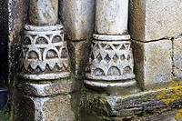 Details of the bases of the columns in the Romanesque church of Sant Peir - Escunhau - Valle de Aran - Pyrenees - Lleida Province - Catalonia - Spain