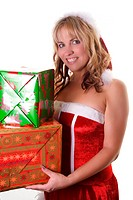woman with crismas gifts