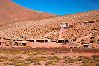 altiplano village Machuca with a typical church near San Pedro de Atacama, Chile